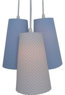 Lustre Pendente Triplo Soft Colors Crie Casa Azul E Branco