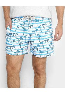 Short Shorts Co Estampado Masculino - Masculino-Branco