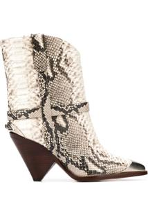 Isabel Marant Ankle Boot Western 'Lamsy' De Couro - Neutro