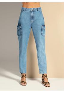 Calça Jeans Com Bolsos Cargo