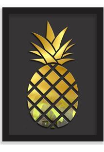 Quadro Decorativo Em Relevo Espelhado Abacaxi Dourado Preto - Médio