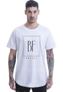 Camiseta Longline Blast Fit Branco Arredondada