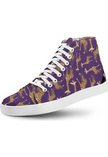 Tênis Usthemp Long Vegano Casual Estampa Girafa Roxo