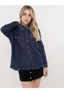 Camisa Jeans Com Tachas E Barra Desfiada