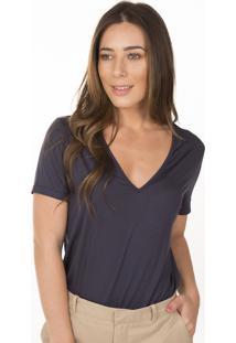 Camiseta Decote V Ampla Em Modal Marinho - Azul Marinho/Multicolorido - Feminino - Dafiti