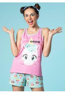 Pijama Curto Puket Nadador Unicórnio Eco - Feminino