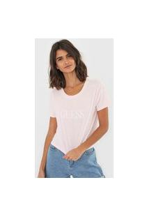 Camiseta Cropped Guess Lettering Rosa