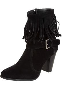 Bota Couro Dafiti Shoes Franjas Preta