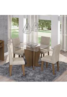 Conjunto Sala De Jantar Mesa Tampo Em Vidro Luana 4 Cadeiras Milena Siena Móveis Savana/Suede Bege