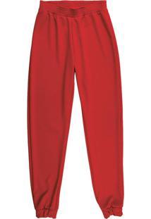 Calça Feminina Em Malha Vermelho