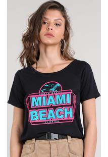 "Blusa Feminina ""Miami Beach"" Neon Mullet Manga Curta Decote Redondo Preta"