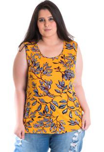 Regata Plus Size Viscose Estampada 41209 Floral - Amarelo - Feminino - Dafiti