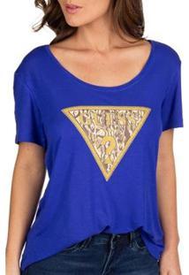 Camiseta Guess Logo Oncinha Feminina - Feminino-Azul