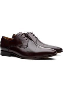 Sapato Liso De Amarrar Derby Leonard Masculino - Masculino-Marrom