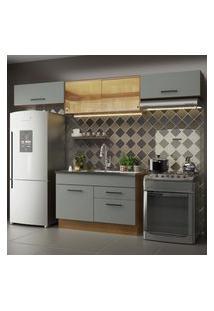 Cozinha Compacta Madesa Agata 280001 Com Armário E Balcáo - Rustic/Cinza Cinza
