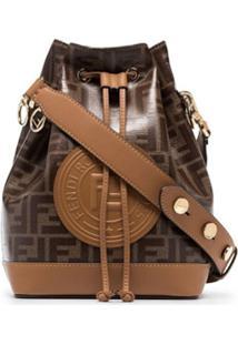 Fendi Tobacco Brown Montresor Large Branding Stamp Bucket Bag - Marrom