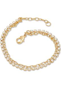 Pulseira Le Diamond Tatiane Com Micro Zircônias Dourado