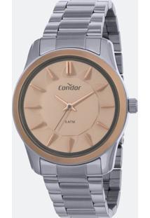 Kit Relógio Feminino Condor Co2036Kwk/K5J Analógico 5Atm + Conjunto Semijóia