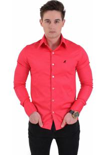 Camisa Social Masculina Cereja Super Slim - Masculino-Rosa