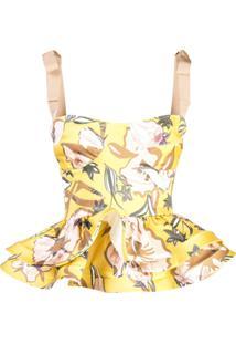 Silvia Tcherassi Blusa Peplum Floral - Amarelo