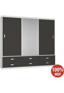 Guarda Roupa 3 Portas Com 1 Espelho 100% Mdf 1341E1 Branco/Café - Foscarini