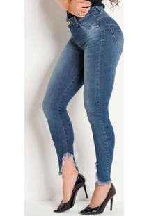 Calça Jeans Sawary Com Barra Assimétrica