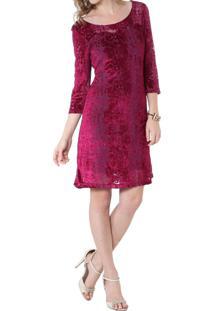 a93881e12 ... Vestido Energia Fashion Decote Redondo Manga 3/4 Vinho