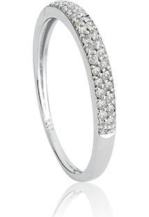 Anel De Ouro Branco 18K Pavê Com Diamantes-Pavês Amare