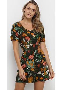 Macacão Yutz Curto Floral Feminino - Feminino-Verde