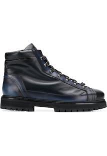 Santoni Ankle Boot Com Cadarço - Azul