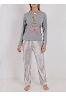 Pijama Longo Feminino - Feminino-Cinza