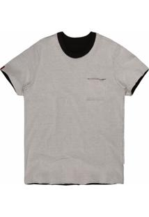 Camiseta Masculina Bolso Dupla Face Preto/Creme