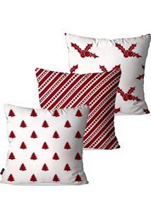 Kit Com 3 Capas Para Almofadas Pump Up Decorativas Natalinas Pinheiro De Natal Fundo Branco 45X45Cm