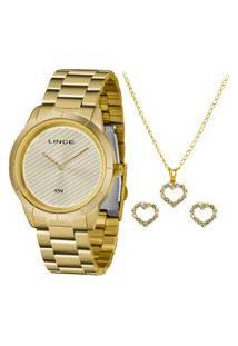 Kit De Relógio Analógico Lince Feminino + Brinco + Colar - Lrg625L Kk11C1Kx Dourado