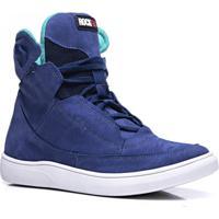 Tênis Masculino Cano Alto Rockfit Blur Em Couro Azul f46439122e586