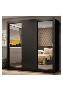 Guarda Roupa Casal Madesa Mônaco 3 Portas De Correr Com Espelhos Preto