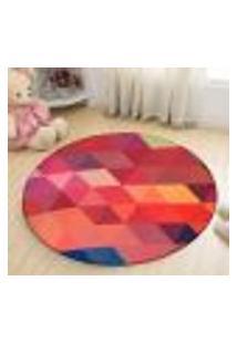 Tapete Redondo Wevans Geométrico Colorido 94Cm