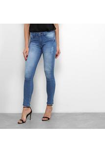 Calça Jeans Chocomenta Skinny Puídos Feminina - Feminino-Azul