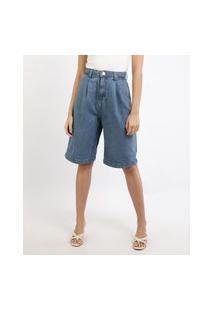 Bermuda Jeans Mindset Slouchy Cintura Média Com Pences Azul Médio