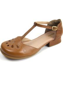 Sandália Retrô Casual Feminino Em Couro Conforto - Kanui