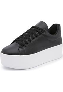 Sapatenis Feminino Top Franca Shoes Sola Alta Preto
