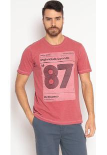 """Camiseta Slim Fit """"87"""" - Vermelha & Pretaindividual"""