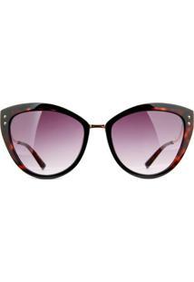 Óculos De Sol Ana Hickmann Ah9280 P01/56 Tartaruga Preto/Dourado