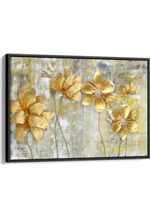 Quadro 60X90Cm Flores Douradas Abstrato Canvas Moldura Flutuante Preta