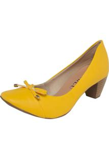 Scarpin Fiveblu Laço Bico Quadrado Amarelo