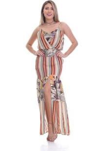 Vestido Clara Arruda Longo Transpasse Estampada Feminino - Feminino-Coral