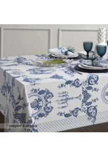Toalha De Mesa Chateau- Branca & Azul- 180X180Cmsultan