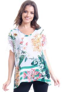 Blusa 101 Resort Wear Tunica Decote V Crepe Com Babado Estampa Floral