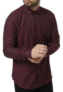 Camisa Manga Longa Vivacci Masculina - Masculino-Vinho