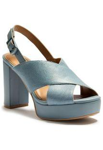 Sandalia Plataforma Tiras A Fio Azul
